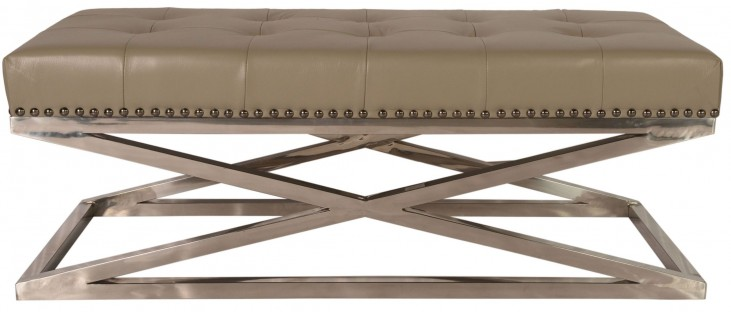 Peyton Adobe Leather Tufted Rectangular Cocktail Table