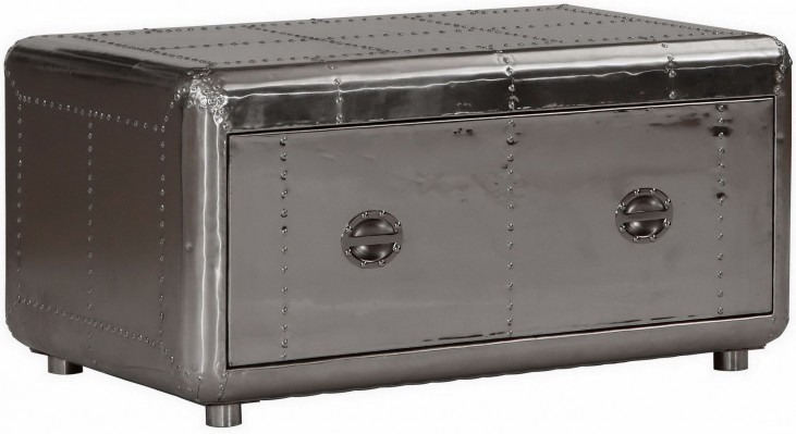 Lindbergh Leather Bomber Aluminum Cocktail Table