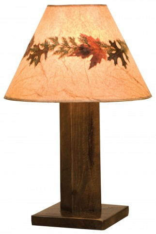 Frontier Barn Brown Table Lamp With Large Foliage Lamp Shade