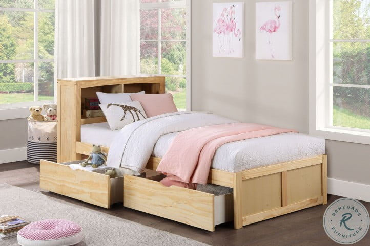 Bartly Natural Pine Youth Bookcase Bedroom Set With Storage Boxes