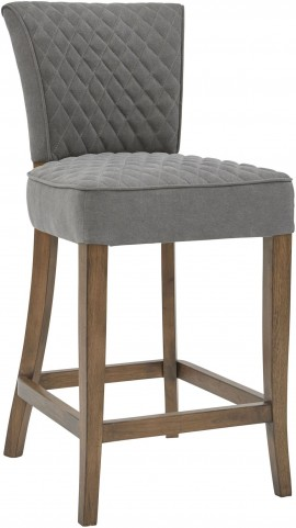 Quilted Gray Counter Stool Set of 2