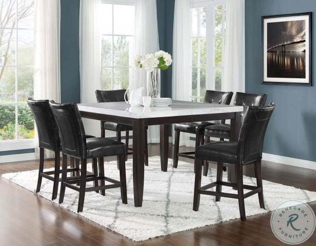 Francis White Marble Square Counter Height Dining Room Set From Steve Silver Coleman Furniture