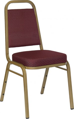 Hercules Trapezoidal Back Stacking Banquet Chair with Burgundy Patterned Fabric and Gold Frame Finish