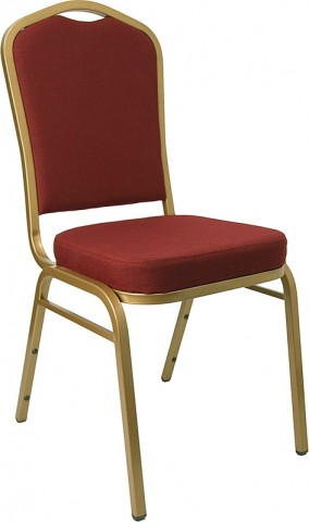 Hercules Crown Back Stacking Banquet Chair with Burgundy Fabric and Gold Frame Finish