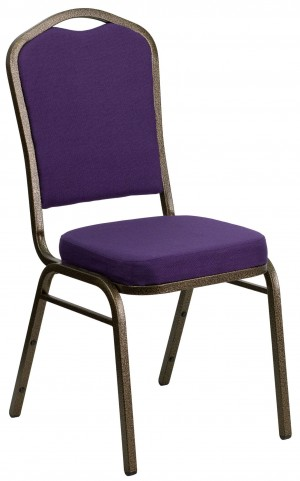 Hercules Series Crown Back Stacking Purple Fabric Banquet Chair