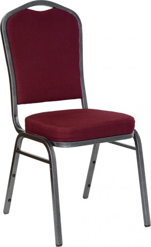 Hercules Crown Back Stacking Banquet Chair with Burgundy Fabric and Silver Vein Frame Finish
