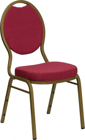 Hercules Teardrop Back Stacking Banquet Chair with Burgundy Patterned Fabric and Gold Frame Finish