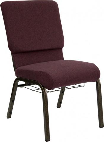 18.5''W Plum Fabric Hercules Church Chair with Book Rack