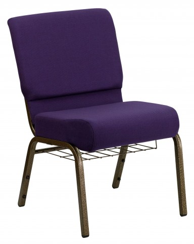 "Hercules Series 21"" Extra Wide Royal Purple Fabric Church Chair"