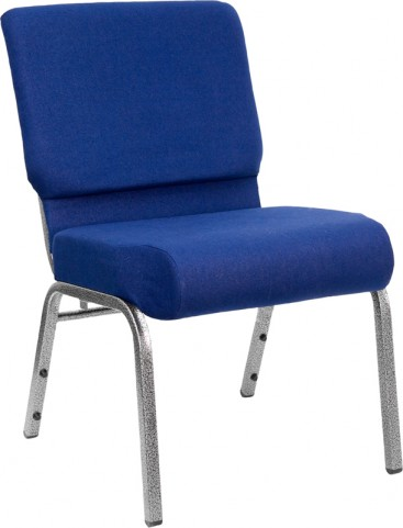 21'' Extra Wide Navy Blue Hercules Church Chair with 4'' Thick Seat - Silver Vein Frame