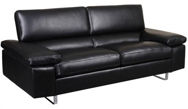 Fiona Black Leather Sofa