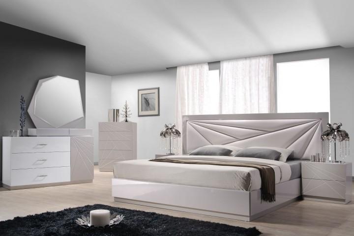 Florence White & Light Grey Lacquer Platform Bedroom Set