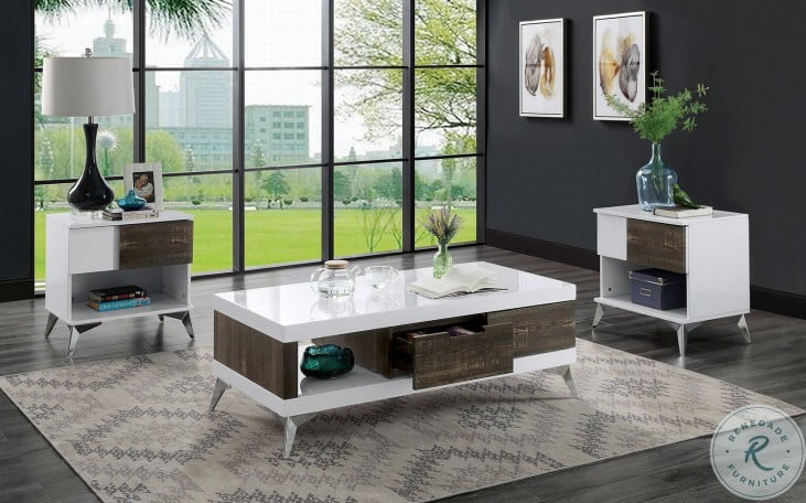 Corinne White and Distressed Dark Oak Occasional Table Set