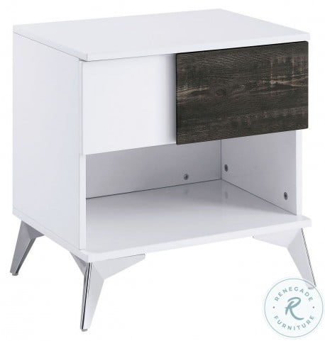Corinne White And Distressed Dark Oak End Table