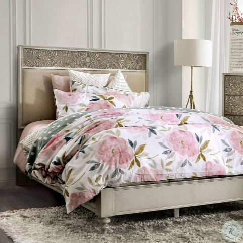 Jakarta Antique White And Beige Upholstered Cal. King Panel Bed