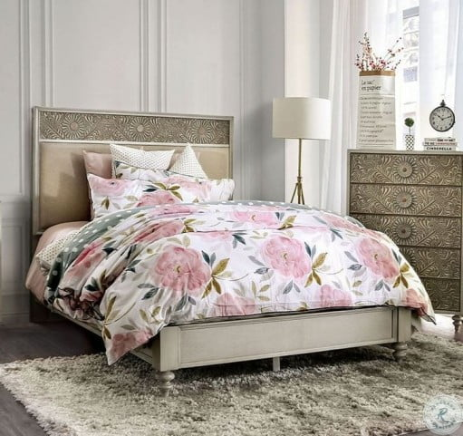 Jakarta Antique White And Beige Upholstered King Panel Bed