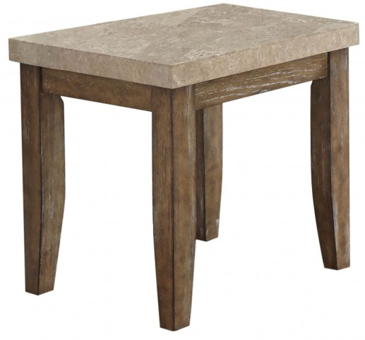 Franco Distressed Driftwood Marble Top End Table