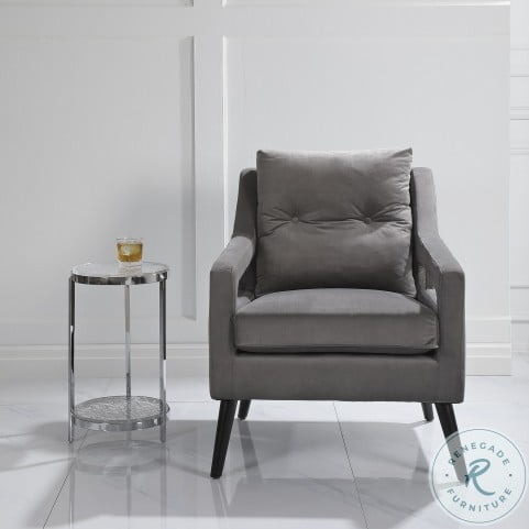 OBrien Smoke Gray And Matte Black Arm Chair