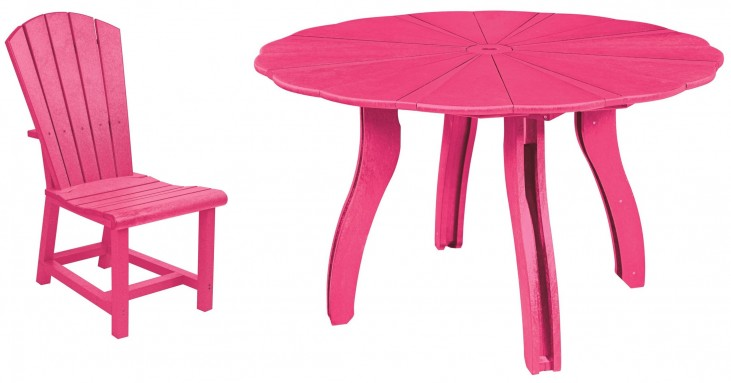"Generations Fuschia 52"" Scalloped Round Dining Room Set"