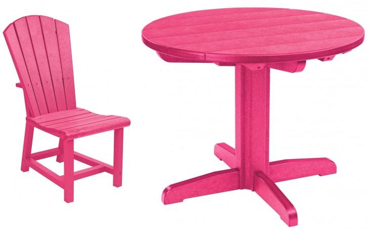 "Generations Fuschia 32"" Round Pedestal Dining Room Set"