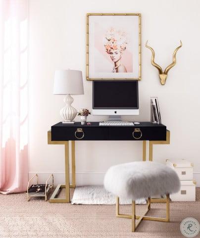 Majesty Black and Gold Desk