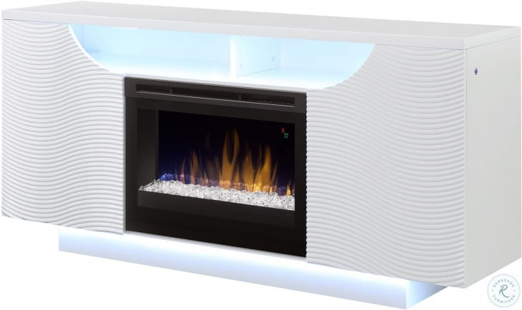 Ethan Gloss White Media Console Fireplace With Acrylic Ice Firebox