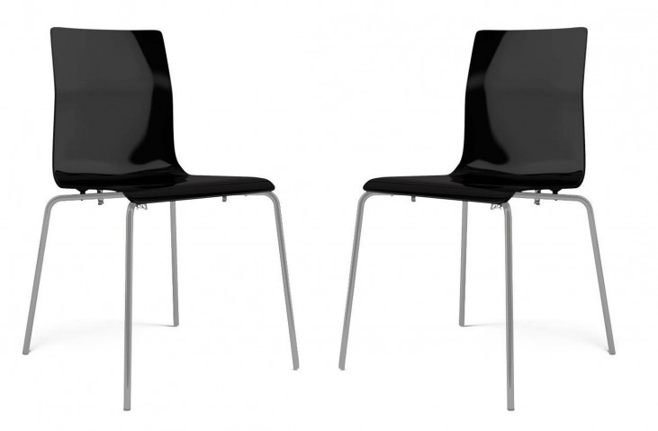 Gel Black with Satinated Aluminum Stacking Chair Set of 2