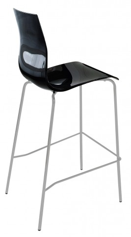 Gel Black Stool with Satinated Aluminum Frame Set of 2