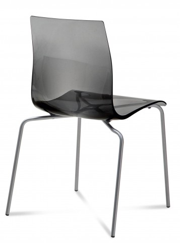 Gel Transparent Smoke with Satinated Aluminum Stacking Chair Set of 2
