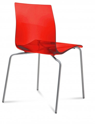 Gel Transparent Red Stacking Chair with Satinated Aluminum Set of 2