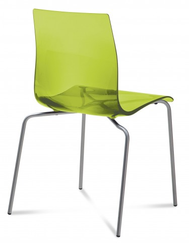 Gel Transparent Green Stacking Chair with Aluminum Base Set of 2