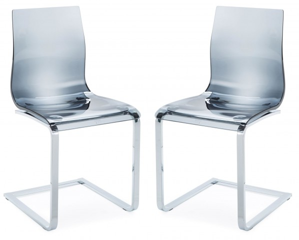 Gel Transparent Smoke Chair with Chrome Frame Set of 2