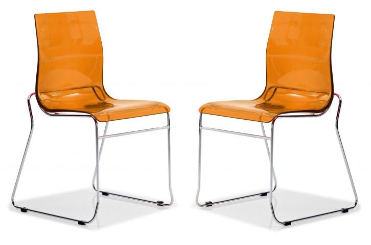 Gel Transparent Orange Chair Wood Base Set of 2