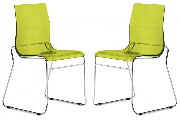 Gel Transparent Green Stacking Chair with Chrome Frame Set of 2