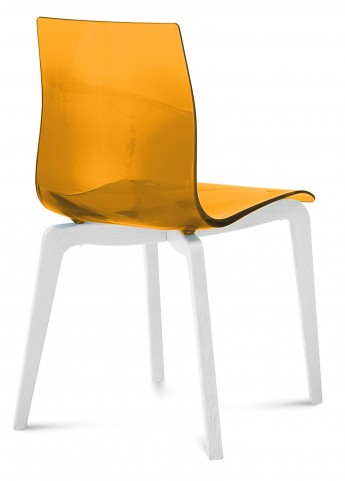 Gel Transparent Orange Chair with White Mat Lacquered Frame Set of 2