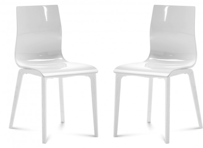 Gel White Chair White Mat Lacquered Frame Set of 2