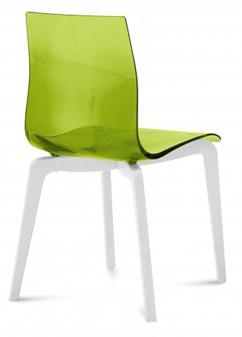 Gel Transparent Green Chair with White Mat Lacquered Set of 2