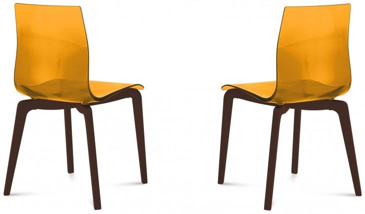 Gel Transparent Orange Chocolate Frame Ashwood Chair Set of 2