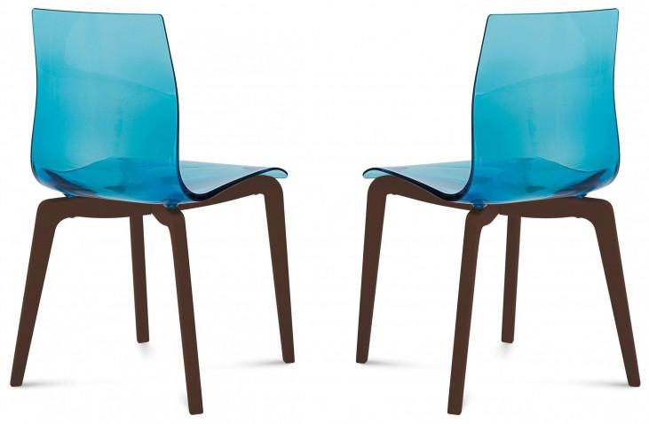 Gel Transparent Blue Chocolate Frame Ashwood Chair Set of 2