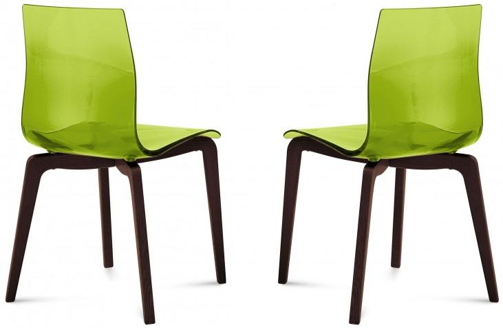Gel Transparent Green Chocolate Frame Ashwood Chair Set of 2