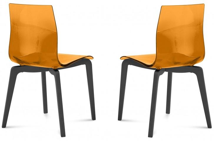 Gel Transparent Orange Anthracite Frame Ashwood Chair Set of 2