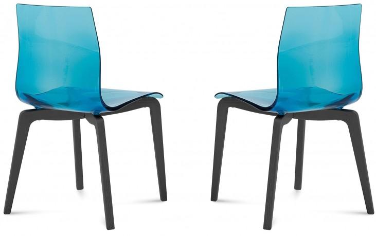Gel Transparent Blue Anthracite Frame Ashwood Chair Set of 2