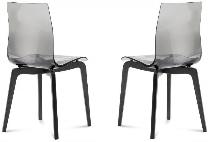 Gel Transparent Smoke seat Ashwood Chair Set of 2