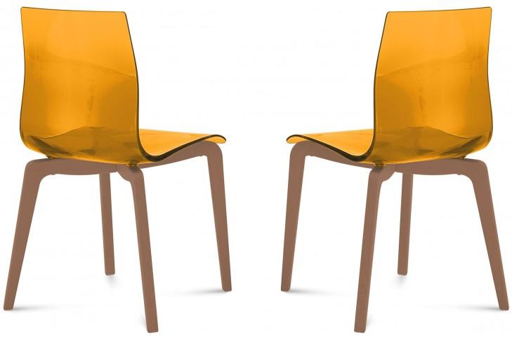 Gel Transparent Orange Ashwood Chair Set of 2