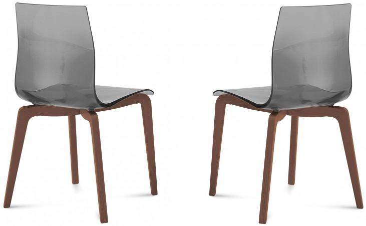 Gel Transparent Smoke Walnut Frame Ashwood Chair Set of 2
