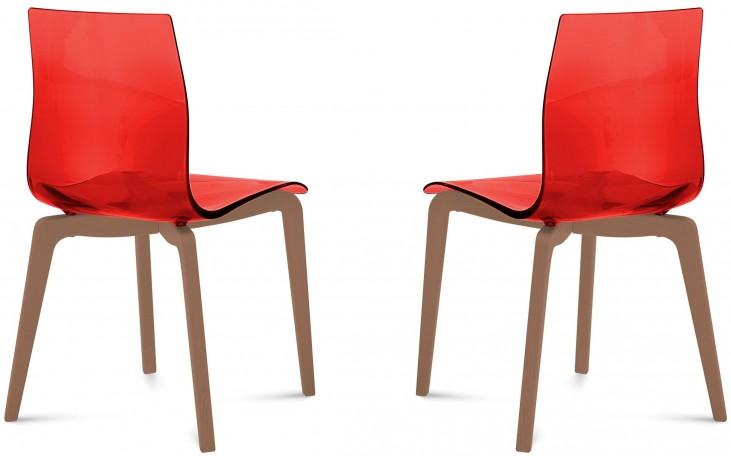 Gel Transparent Red Walnut Frame Ashwood Chair Set of 2