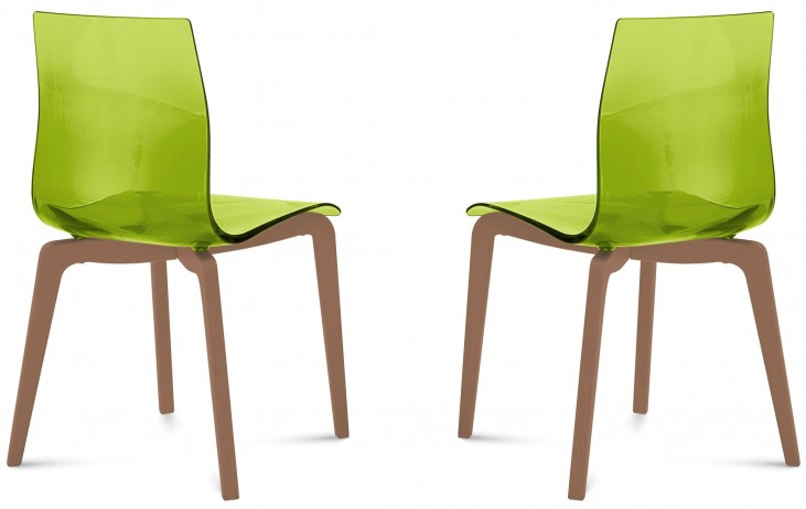 Gel Transparent Green Walnut Frame Ashwood Chair Set of 2