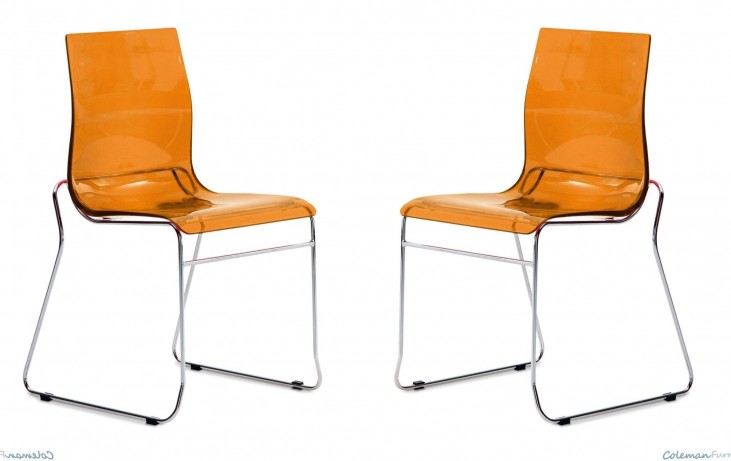 Gel Transparent Orange Stacking Chair with Chrome Base Set of 2