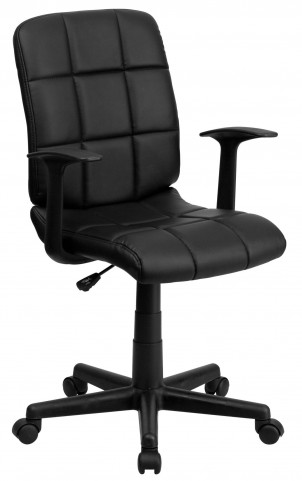 Black Quilted Nylon Arm Task Chair