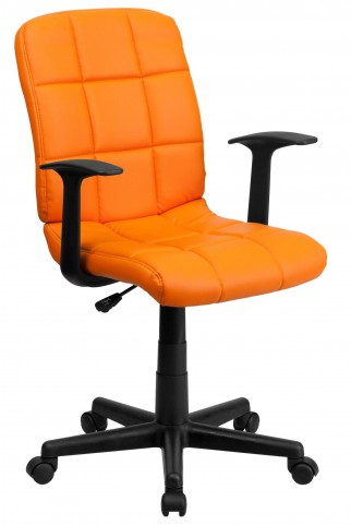 Orange Quilted Nylon Arm Task Chair